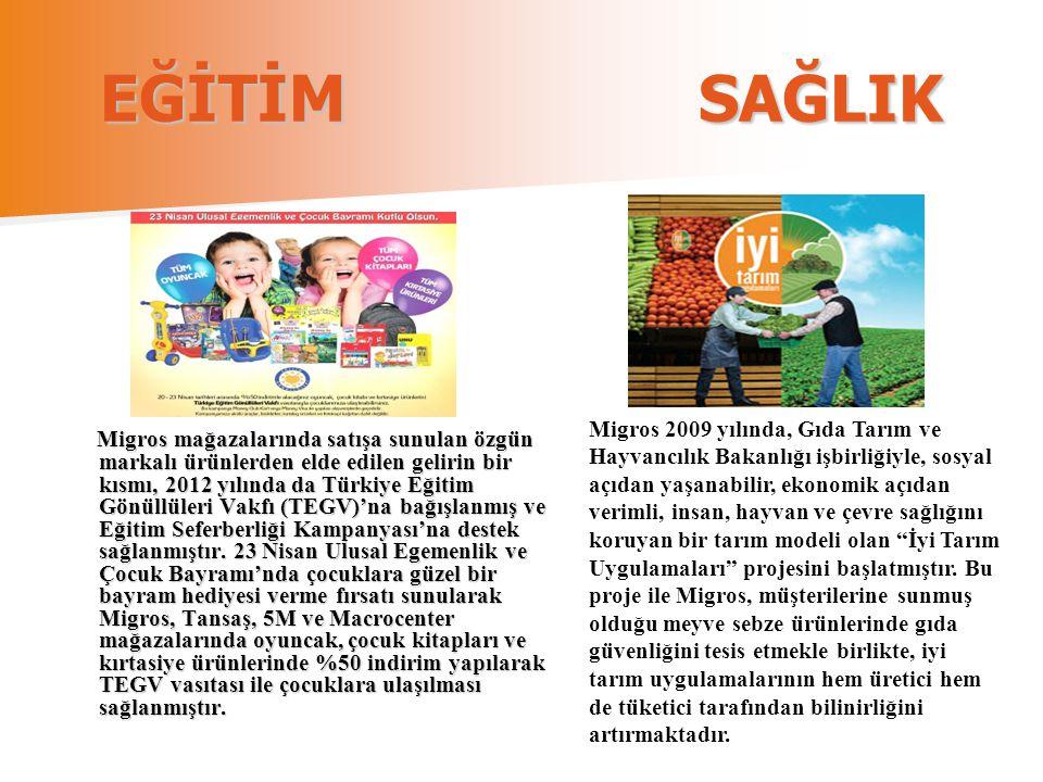 EĞİTİM SAĞLIK Migros mağazalarında satışa sunulan özgün markalı ürünlerden elde edilen gelirin bir kısmı, 2012 yılında da Türkiye Eğitim Gönüllüleri V