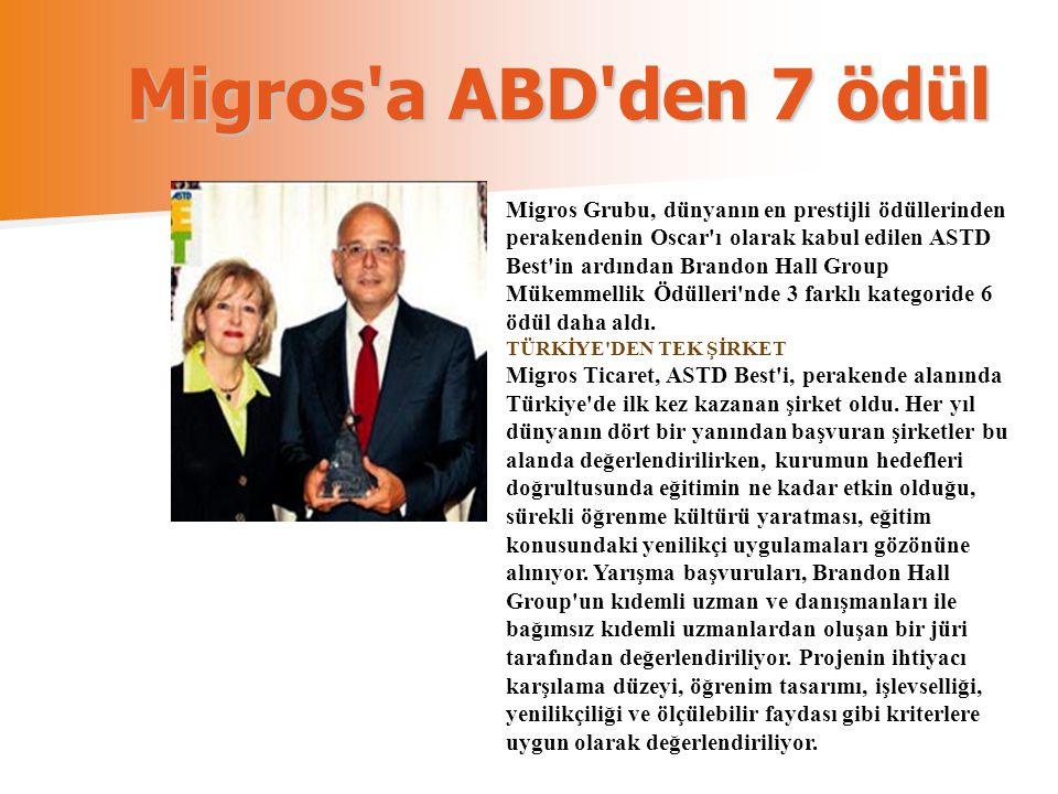 Migros'a ABD'den 7 ödül Migros Grubu, dünyanın en prestijli ödüllerinden perakendenin Oscar'ı olarak kabul edilen ASTD Best'in ardından Brandon Hall G