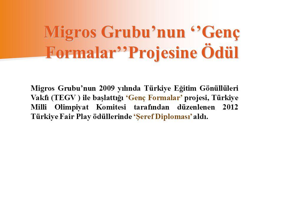 Migros Grubu'nun ''Genç Formalar''Projesine Ödül Migros Grubu'nun 2009 yılında Türkiye Eğitim Gönüllüleri Vakfı (TEGV ) ile başlattığı 'Genç Formalar'