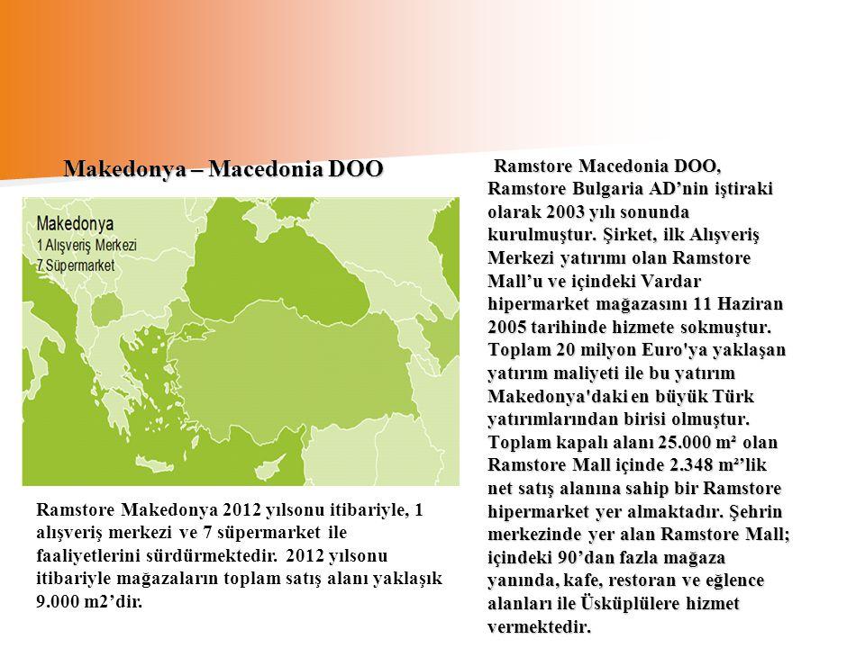 Ramstore Macedonia DOO, Ramstore Bulgaria AD'nin iştiraki olarak 2003 yılı sonunda kurulmuştur. Şirket, ilk Alışveriş Merkezi yatırımı olan Ramstore M