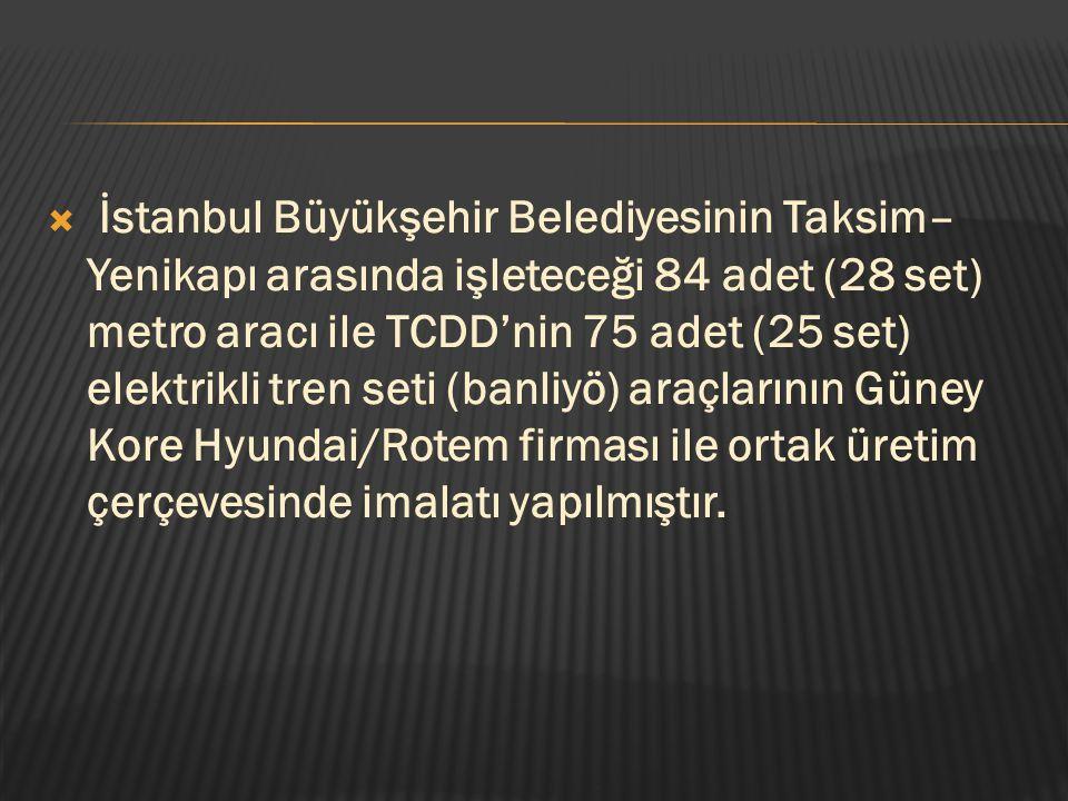  İstanbul Büyükşehir Belediyesinin Taksim– Yenikapı arasında işleteceği 84 adet (28 set) metro aracı ile TCDD'nin 75 adet (25 set) elektrikli tren se