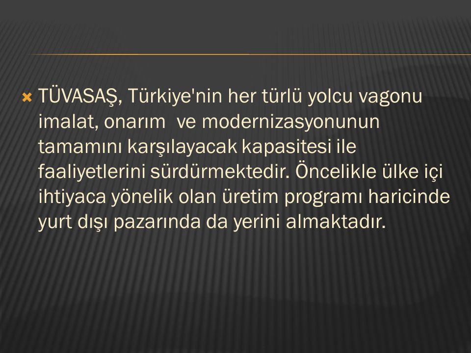  TÜVASAŞ, Türkiye'nin her türlü yolcu vagonu imalat, onarım ve modernizasyonunun tamamını karşılayacak kapasitesi ile faaliyetlerini sürdürmektedir.