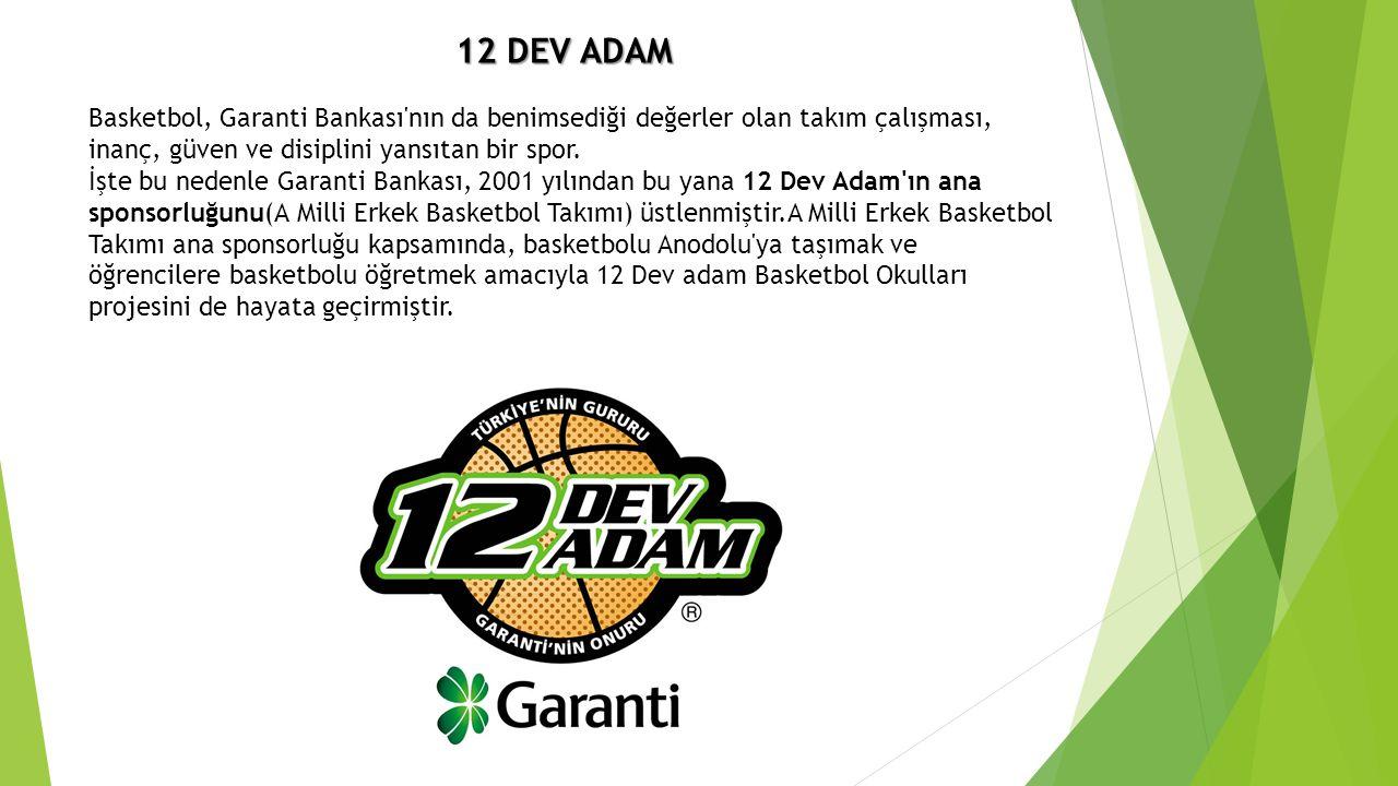12 DEV ADAM 12 DEV ADAM Basketbol, Garanti Bankası'nın da benimsediği değerler olan takım çalışması, inanç, güven ve disiplini yansıtan bir spor. İşte