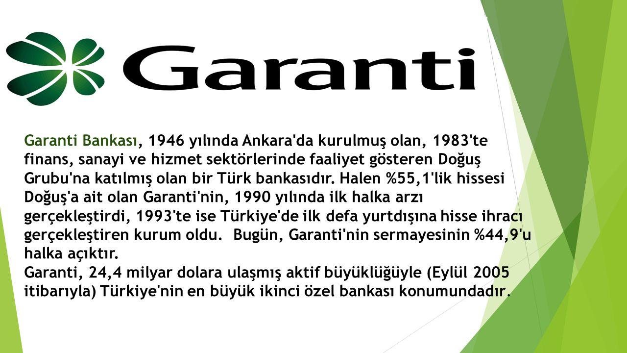 Garanti Bankası, 1946 yılında Ankara'da kurulmuş olan, 1983'te finans, sanayi ve hizmet sektörlerinde faaliyet gösteren Doğuş Grubu'na katılmış olan b