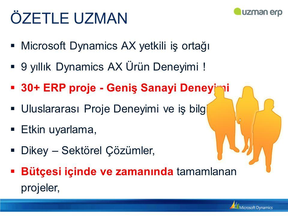 ÖZETLE UZMAN  Microsoft Dynamics AX yetkili iş ortağı  9 yıllık Dynamics AX Ürün Deneyimi !  30+ ERP proje - Geniş Sanayi Deneyimi  Uluslararası P
