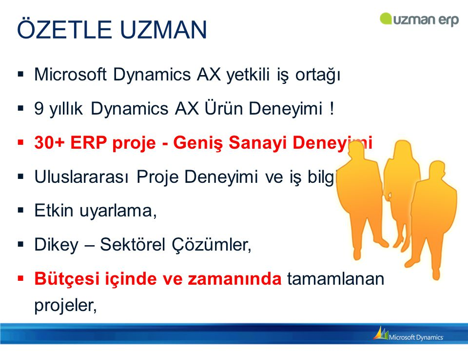 ÖZETLE UZMAN  Microsoft Dynamics AX yetkili iş ortağı  9 yıllık Dynamics AX Ürün Deneyimi .