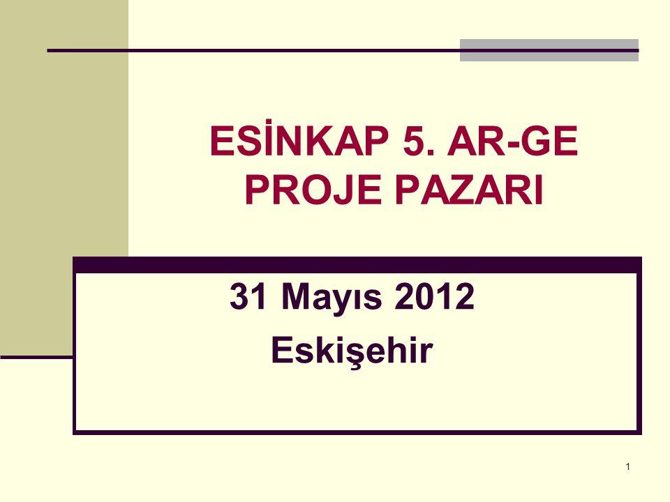 1 ESİNKAP 5. AR-GE PROJE PAZARI 31 Mayıs 2012 Eskişehir