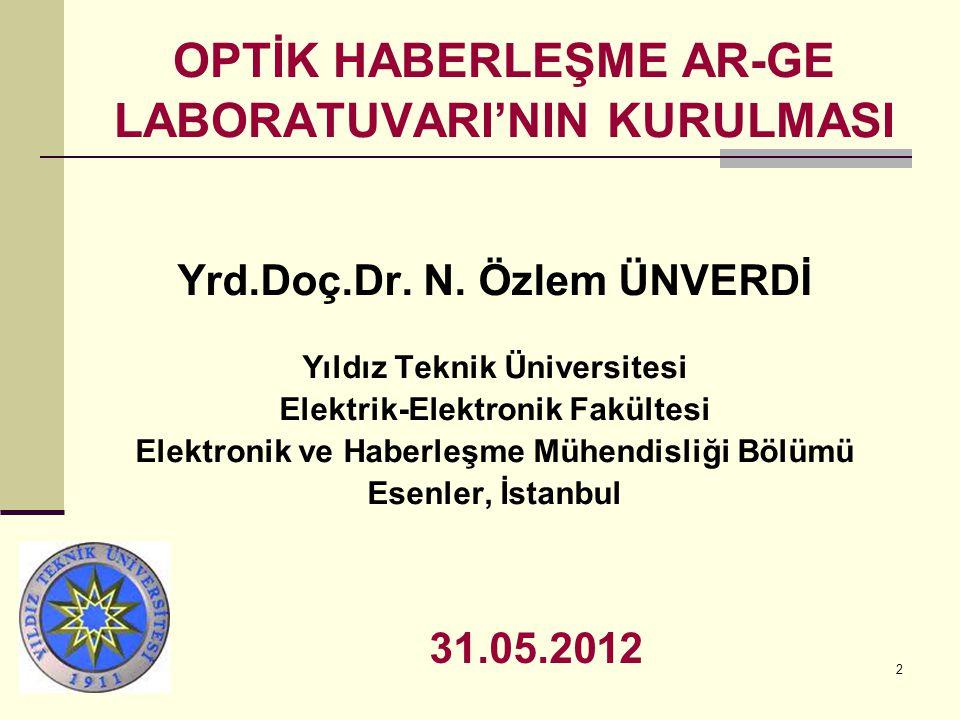 2 OPTİK HABERLEŞME AR-GE LABORATUVARI'NIN KURULMASI Yrd.Doç.Dr.