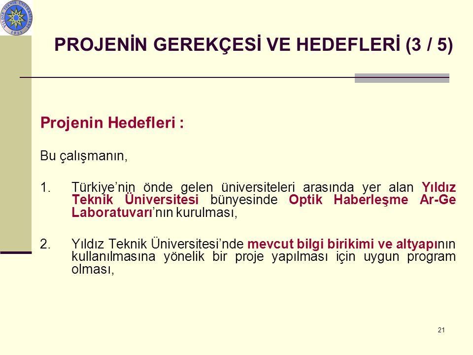 21 PROJENİN GEREKÇESİ VE HEDEFLERİ (3 / 5) Projenin Hedefleri : Bu çalışmanın, 1.Türkiye'nin önde gelen üniversiteleri arasında yer alan Yıldız Teknik Üniversitesi bünyesinde Optik Haberleşme Ar-Ge Laboratuvarı'nın kurulması, 2.Yıldız Teknik Üniversitesi'nde mevcut bilgi birikimi ve altyapının kullanılmasına yönelik bir proje yapılması için uygun program olması,