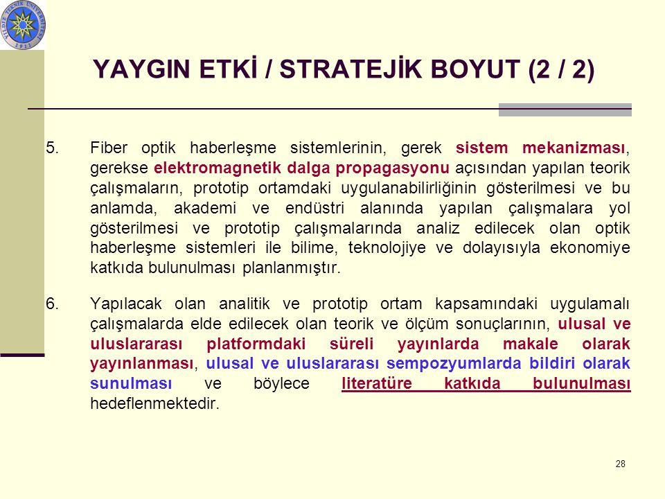 28 YAYGIN ETKİ / STRATEJİK BOYUT (2 / 2) 5.Fiber optik haberleşme sistemlerinin, gerek sistem mekanizması, gerekse elektromagnetik dalga propagasyonu