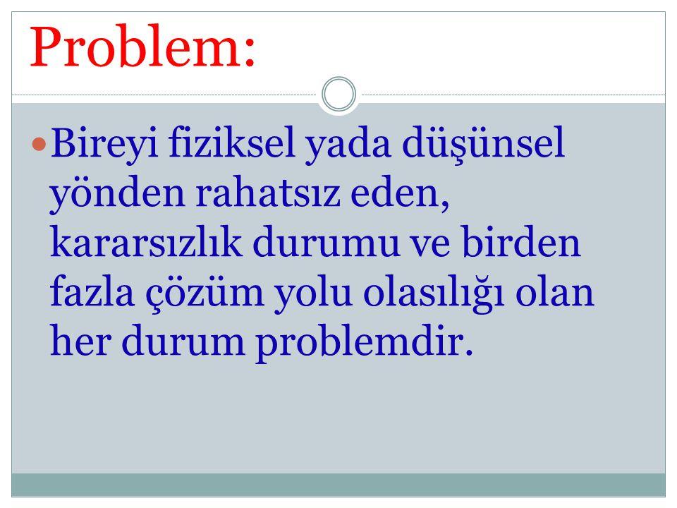 Problem: Bireyi fiziksel yada düşünsel yönden rahatsız eden, kararsızlık durumu ve birden fazla çözüm yolu olasılığı olan her durum problemdir.