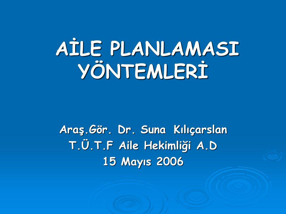 AİLE PLANLAMASI YÖNTEMLERİ AİLE PLANLAMASI YÖNTEMLERİ Araş.Gör. Dr. Suna Kılıçarslan T.Ü.T.F Aile Hekimliği A.D 15 Mayıs 2006