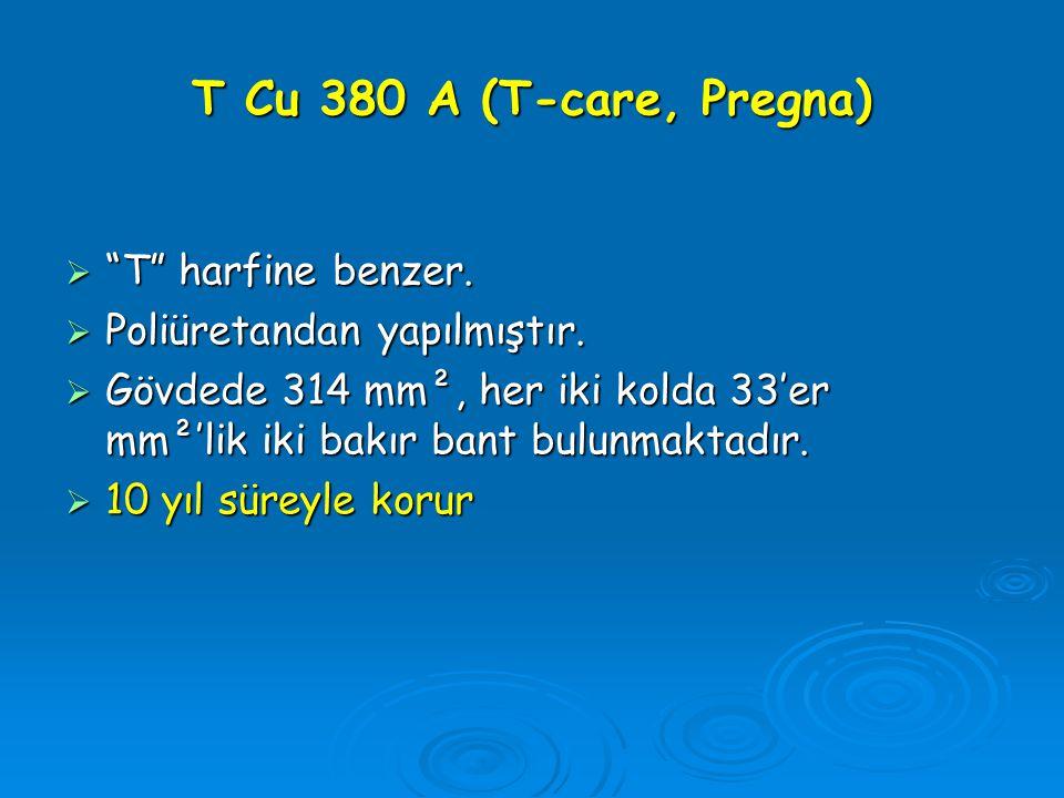 """T Cu 380 A (T-care, Pregna)  """"T"""" harfine benzer.  Poliüretandan yapılmıştır.  Gövdede 314 mm², her iki kolda 33'er mm²'lik iki bakır bant bulunmakt"""