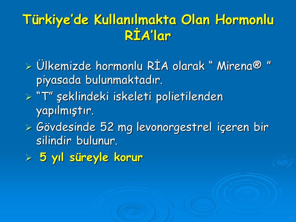 """Türkiye'de Kullanılmakta Olan Hormonlu RİA'lar  Ülkemizde hormonlu RİA olarak """" Mirena® """" piyasada bulunmaktadır.  """"T"""" şeklindeki iskeleti polietile"""