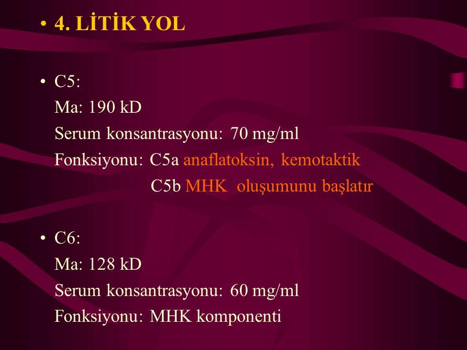 4. LİTİK YOL C5: Ma: 190 kD Serum konsantrasyonu: 70 mg/ml Fonksiyonu: C5a anaflatoksin, kemotaktik C5b MHK oluşumunu başlatır C6: Ma: 128 kD Serum ko