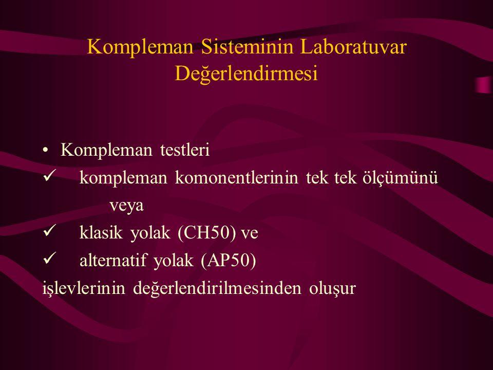 Kompleman Sisteminin Laboratuvar Değerlendirmesi Kompleman testleri kompleman komonentlerinin tek tek ölçümünü veya klasik yolak (CH50) ve alternatif