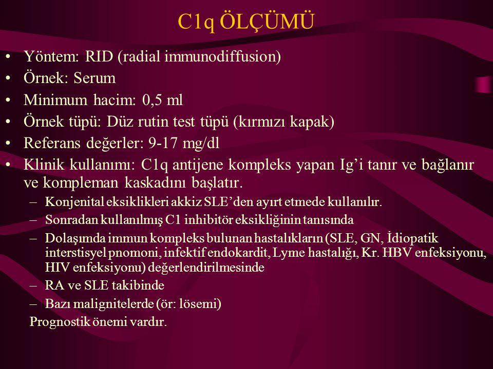 C1q ÖLÇÜMÜ Yöntem: RID (radial immunodiffusion) Örnek: Serum Minimum hacim: 0,5 ml Örnek tüpü: Düz rutin test tüpü (kırmızı kapak) Referans değerler: