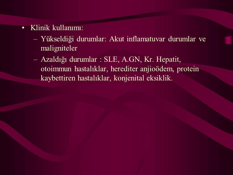 Klinik kullanımı: –Yükseldiği durumlar: Akut inflamatuvar durumlar ve maligniteler –Azaldığı durumlar : SLE, A.GN, Kr. Hepatit, otoimmun hastalıklar,