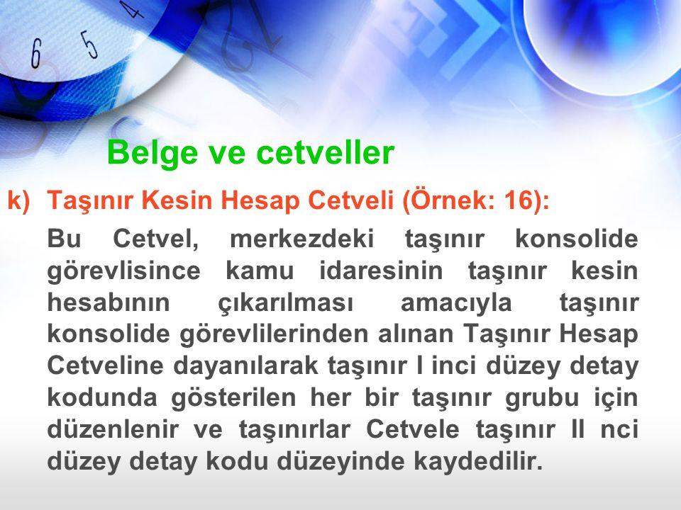 k)Taşınır Kesin Hesap Cetveli (Örnek: 16): Bu Cetvel, merkezdeki taşınır konsolide görevlisince kamu idaresinin taşınır kesin hesabının çıkarılması am