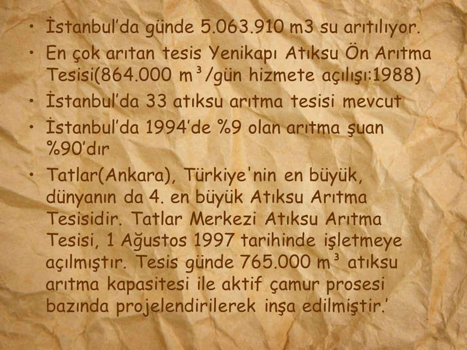 İstanbul'da günde 5.063.910 m3 su arıtılıyor. En çok arıtan tesis Yenikapı Atıksu Ön Arıtma Tesisi(864.000 m³/gün hizmete açılışı:1988) İstanbul'da 33