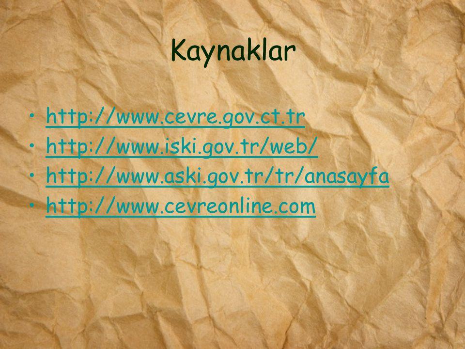 Kaynaklar http://www.cevre.gov.ct.tr http://www.iski.gov.tr/web/ http://www.aski.gov.tr/tr/anasayfa http://www.cevreonline.com