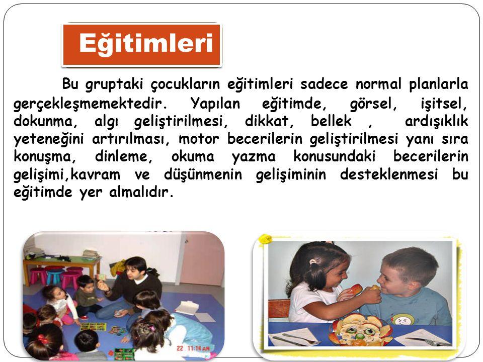 Eğitimleri Bu gruptaki çocukların eğitimleri sadece normal planlarla gerçekleşmemektedir. Yapılan eğitimde, görsel, işitsel, dokunma, algı geliştirilm