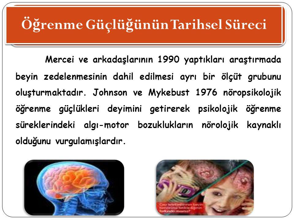 Ö ğ renme Güçlü ğ ünün Tarihsel Süreci Mercei ve arkadaşlarının 1990 yaptıkları araştırmada beyin zedelenmesinin dahil edilmesi ayrı bir ölçüt grubunu