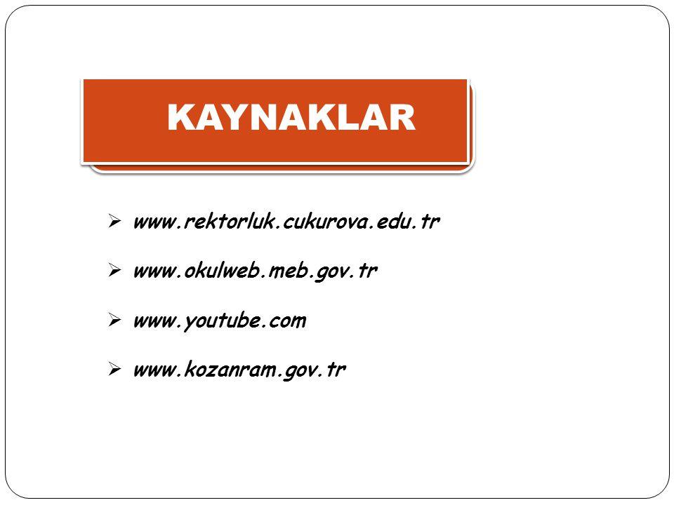 KAYNAKLAR  www.rektorluk.cukurova.edu.tr  www.okulweb.meb.gov.tr  www.youtube.com  www.kozanram.gov.tr