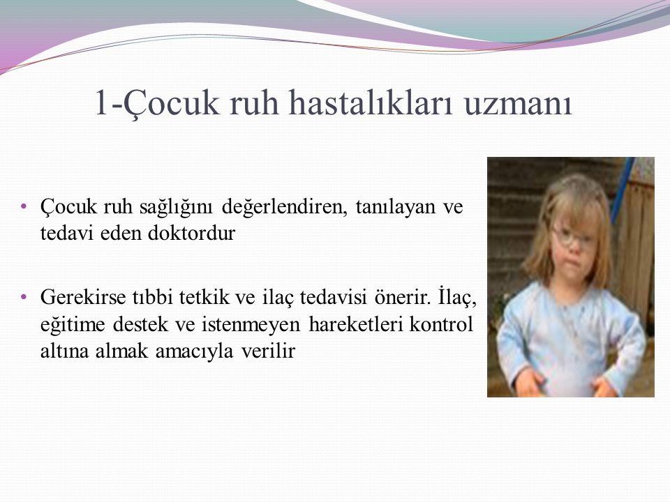 1-Çocuk ruh hastalıkları uzmanı Çocuk ruh sağlığını değerlendiren, tanılayan ve tedavi eden doktordur Gerekirse tıbbi tetkik ve ilaç tedavisi önerir.
