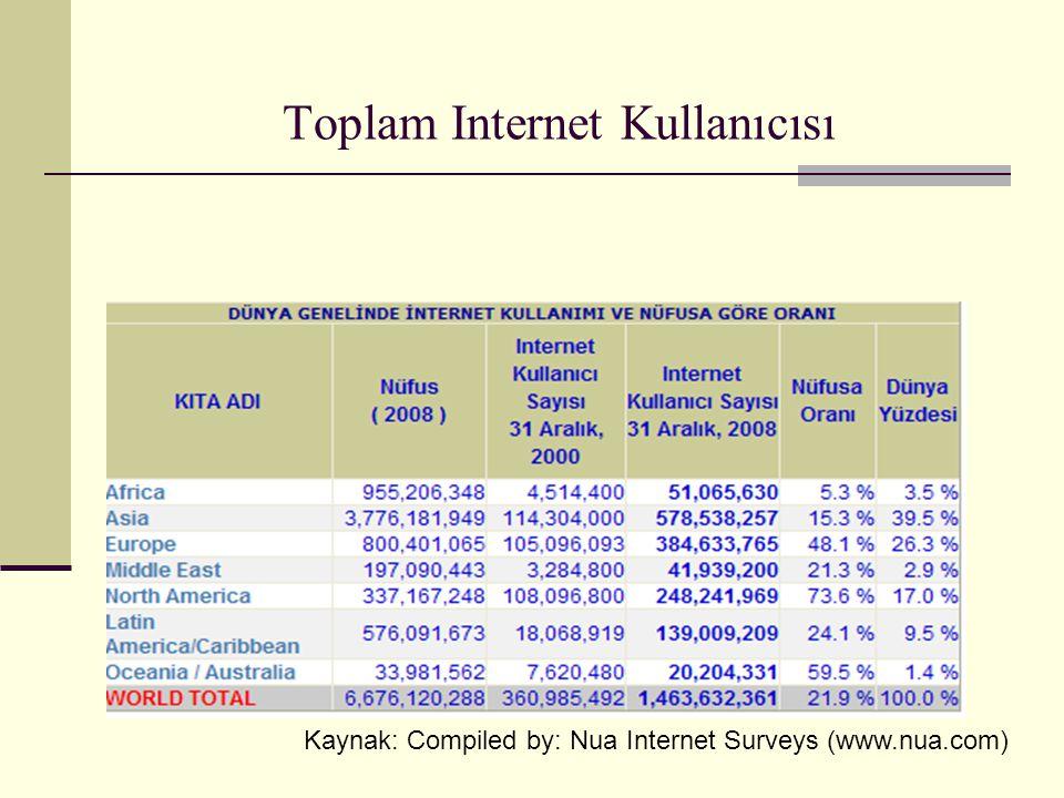 Toplam Internet Kullanıcısı Kaynak: Compiled by: Nua Internet Surveys (www.nua.com)