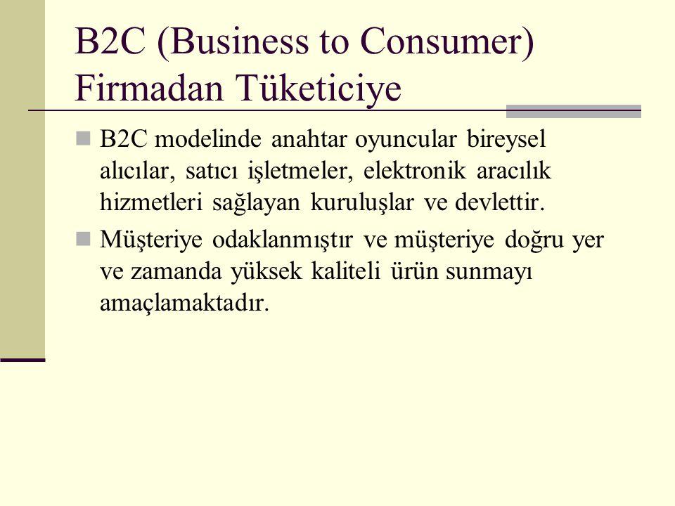 B2C (Business to Consumer) Firmadan Tüketiciye B2C modelinde anahtar oyuncular bireysel alıcılar, satıcı işletmeler, elektronik aracılık hizmetleri sa