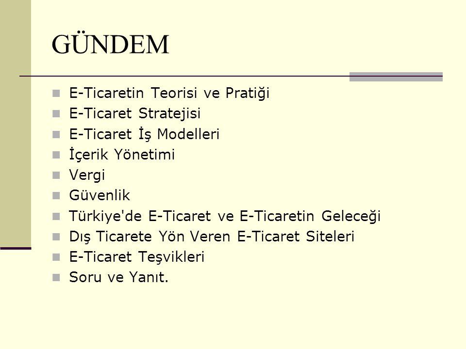GÜNDEM E-Ticaretin Teorisi ve Pratiği E-Ticaret Stratejisi E-Ticaret İş Modelleri İçerik Yönetimi Vergi Güvenlik Türkiye'de E-Ticaret ve E-Ticaretin G