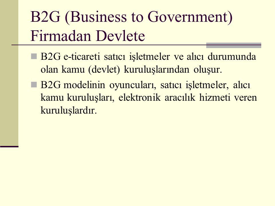 B2G (Business to Government) Firmadan Devlete B2G e-ticareti satıcı işletmeler ve alıcı durumunda olan kamu (devlet) kuruluşlarından oluşur. B2G model