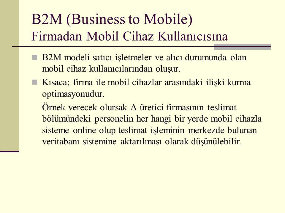 B2M (Business to Mobile) Firmadan Mobil Cihaz Kullanıcısına B2M modeli satıcı işletmeler ve alıcı durumunda olan mobil cihaz kullanıcılarından oluşur.