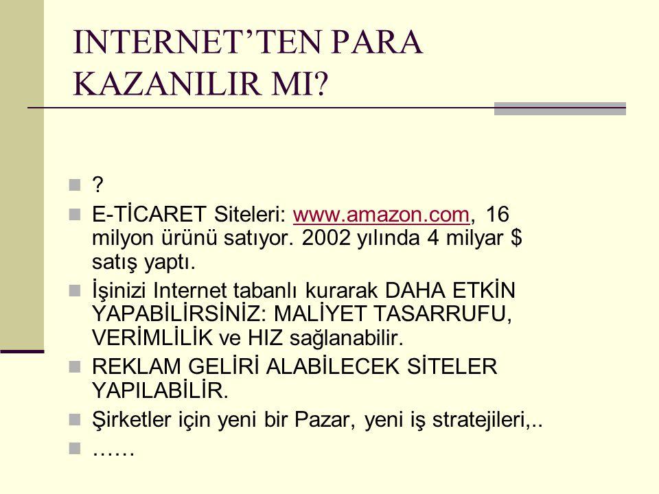 INTERNET'TEN PARA KAZANILIR MI? ? E-TİCARET Siteleri: www.amazon.com, 16 milyon ürünü satıyor. 2002 yılında 4 milyar $ satış yaptı.www.amazon.com İşin