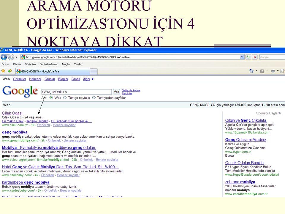 ARAMA MOTORU OPTİMİZASTONU İÇİN 4 NOKTAYA DİKKAT 1-Anahtar Kelime (Tag) kullanımı