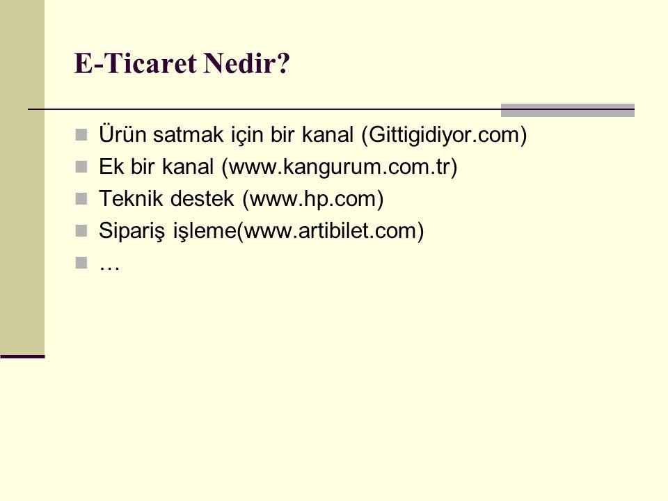 E-Ticaret Nedir? Ürün satmak için bir kanal (Gittigidiyor.com) Ek bir kanal (www.kangurum.com.tr) Teknik destek (www.hp.com) Sipariş işleme(www.artibi