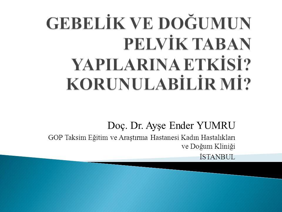 Doç. Dr. Ayşe Ender YUMRU GOP Taksim Eğitim ve Araştırma Hastanesi Kadın Hastalıkları ve Doğum Kliniği İSTANBUL