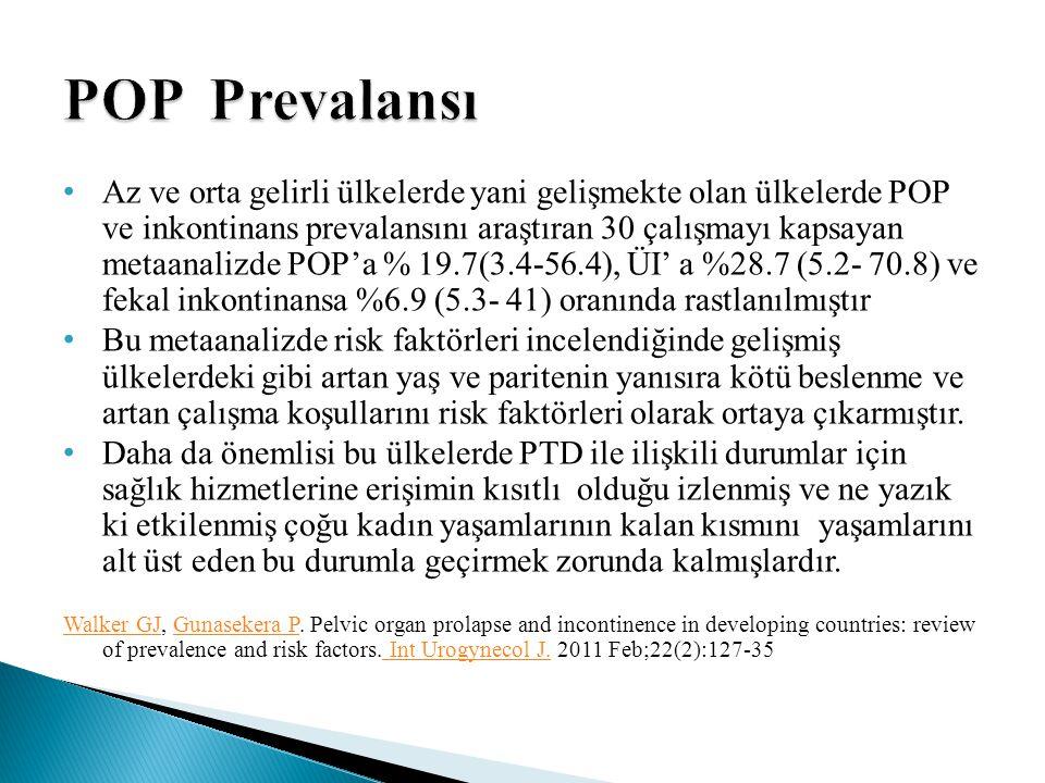 Az ve orta gelirli ülkelerde yani gelişmekte olan ülkelerde POP ve inkontinans prevalansını araştıran 30 çalışmayı kapsayan metaanalizde POP'a % 19.7(