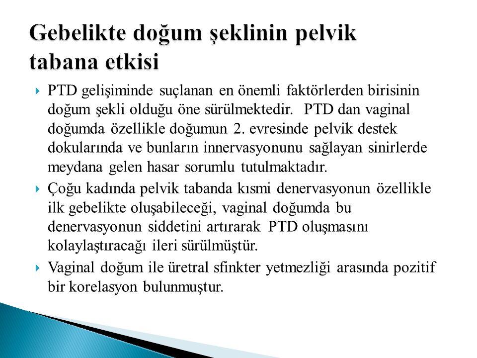  PTD gelişiminde suçlanan en önemli faktörlerden birisinin doğum şekli olduğu öne sürülmektedir. PTD dan vaginal doğumda özellikle doğumun 2. evresin