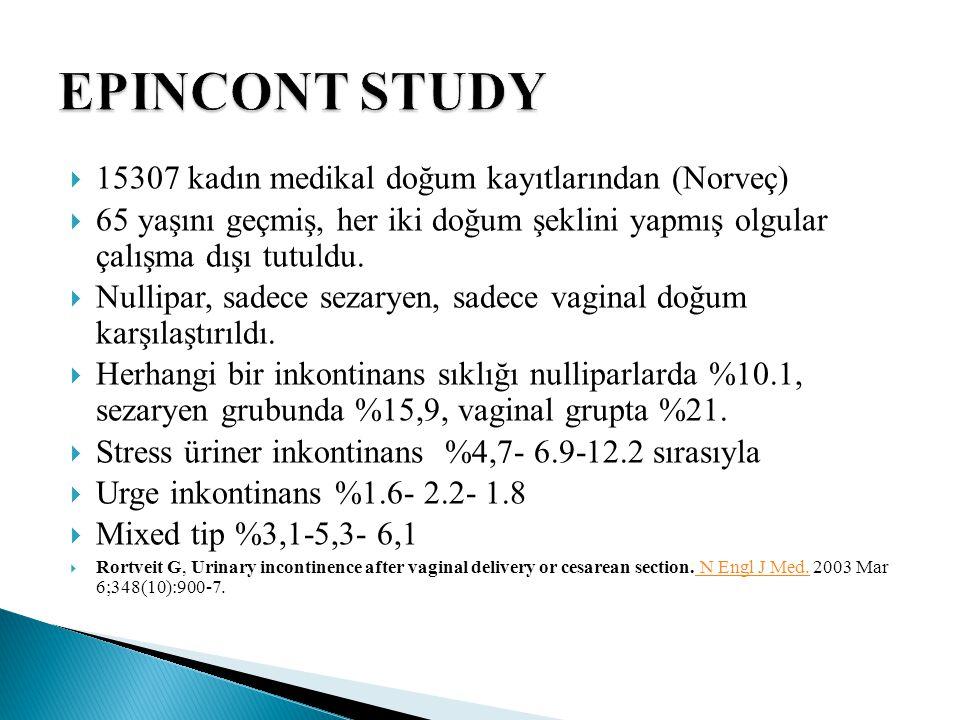  Nullipar kadınlarla karşılaştırıldığında sezaryen geçirenlerde herhangi bir inkontinans için adjusted odds ratio 1,5 (%95 CI 1.2-1.9)  Vaginal doğum ile sezaryen karşılaştırıldığında herhangi bir inkontinans için odds ratio 1.7 (%95 CI 1.3-2.1), ciddi inkontinans için odds ratio 2.2 (%95 CI 1.7-3.2),  İlginç olarak bu çalışmada stress ve mixed inkontinans sezaryen grubunda daha fazla idi.