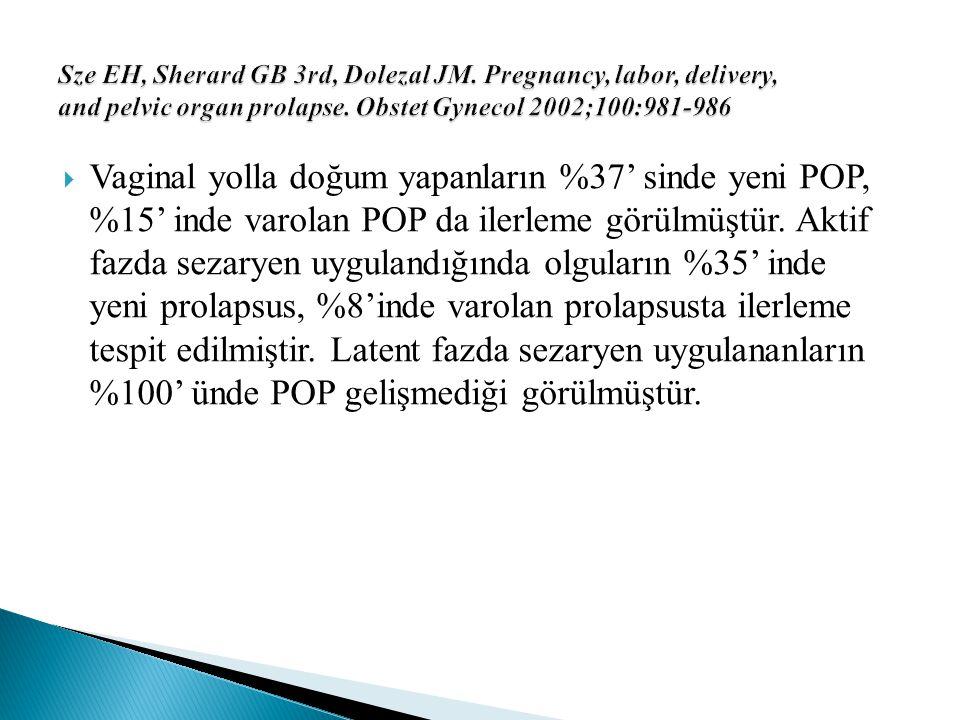  Vaginal yolla doğum yapanların %37' sinde yeni POP, %15' inde varolan POP da ilerleme görülmüştür. Aktif fazda sezaryen uygulandığında olguların %35
