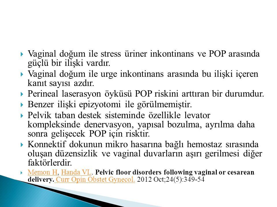  Vaginal doğum ile stress üriner inkontinans ve POP arasında güçlü bir ilişki vardır.  Vaginal doğum ile urge inkontinans arasında bu ilişki içeren