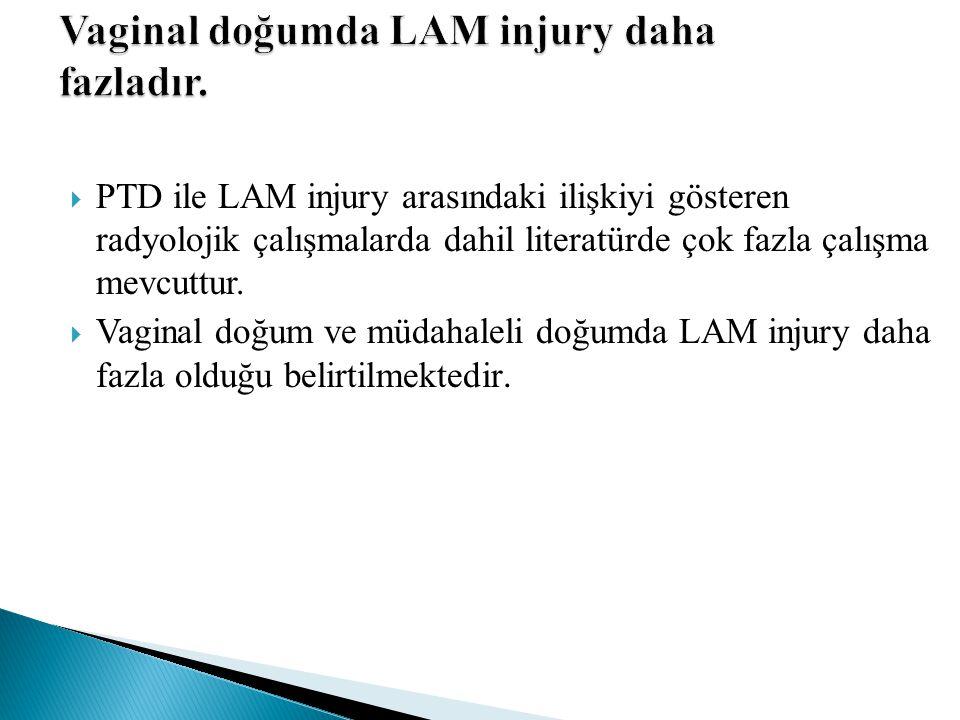  PTD ile LAM injury arasındaki ilişkiyi gösteren radyolojik çalışmalarda dahil literatürde çok fazla çalışma mevcuttur.  Vaginal doğum ve müdahaleli