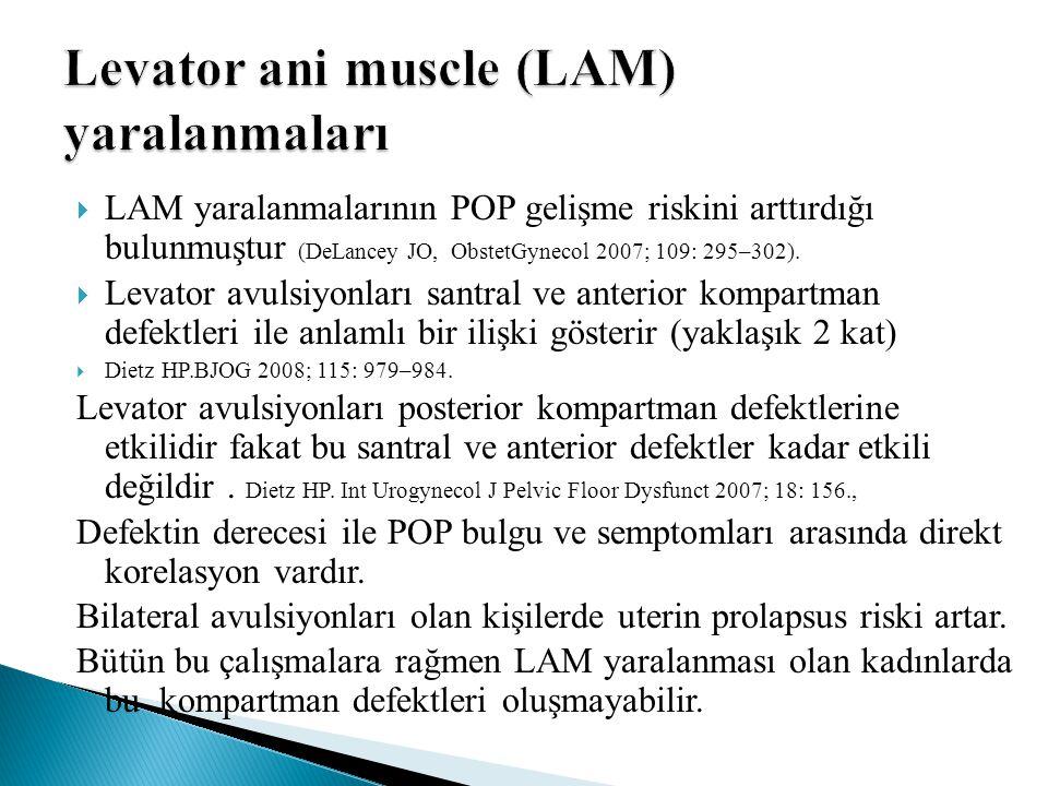  LAM yaralanmalarının POP gelişme riskini arttırdığı bulunmuştur (DeLancey JO, ObstetGynecol 2007; 109: 295–302).  Levator avulsiyonları santral ve