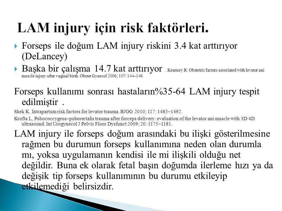  Forseps ile doğum LAM injury riskini 3.4 kat arttırıyor (DeLancey)  Başka bir çalışma 14.7 kat arttırıyor. Kearney R. Obstetric factors associated