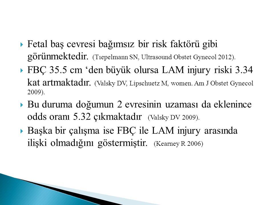  Fetal baş cevresi bağımsız bir risk faktörü gibi görünmektedir. (Tıepelmann SN, Ultrasound Obstet Gynecol 2012).  FBÇ 35.5 cm 'den büyük olursa LAM