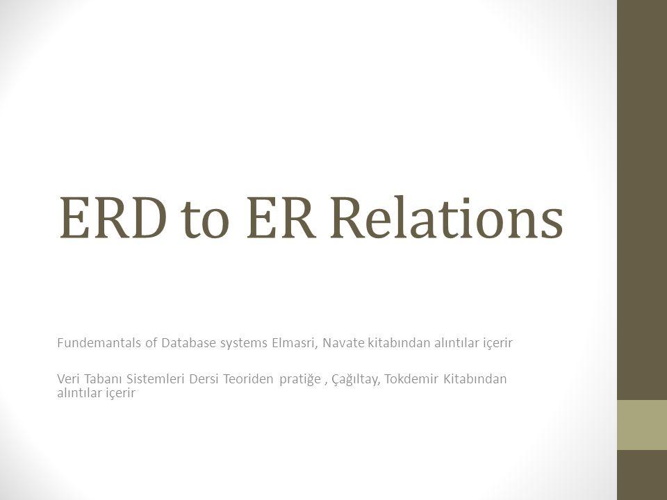 ERD to ER Relations Fundemantals of Database systems Elmasri, Navate kitabından alıntılar içerir Veri Tabanı Sistemleri Dersi Teoriden pratiğe, Çağılt