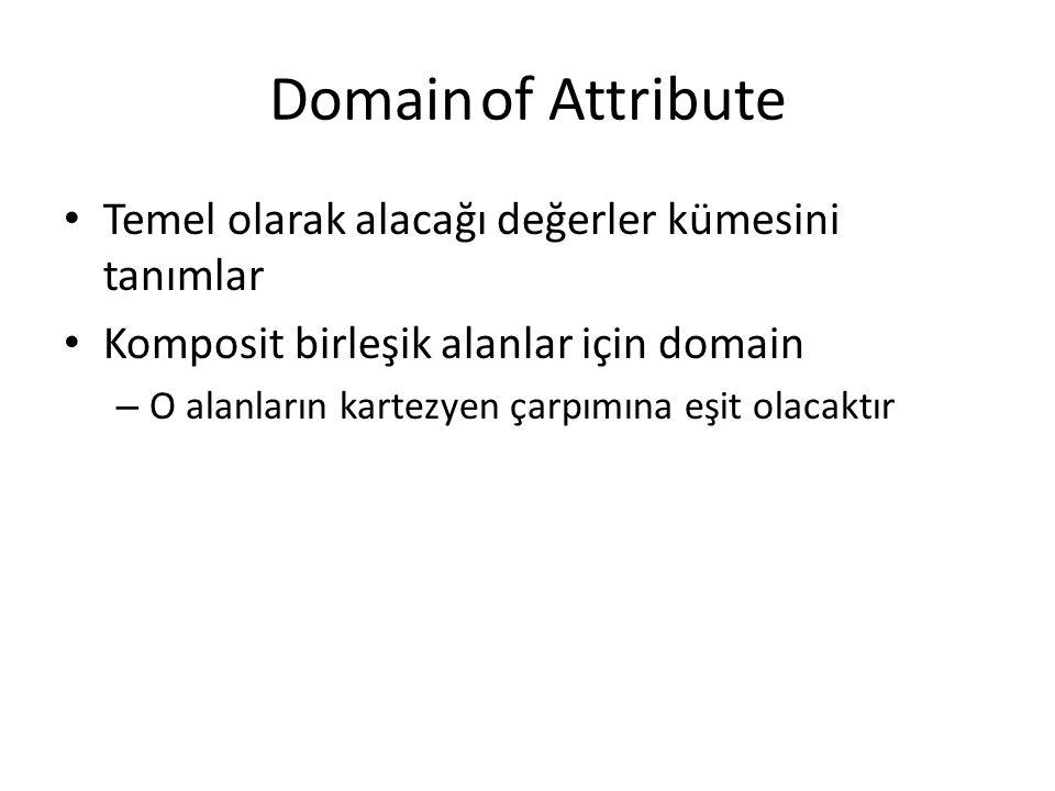 Domainof Attribute Temel olarak alacağı değerler kümesini tanımlar Komposit birleşik alanlar için domain – O alanların kartezyen çarpımına eşit olacak