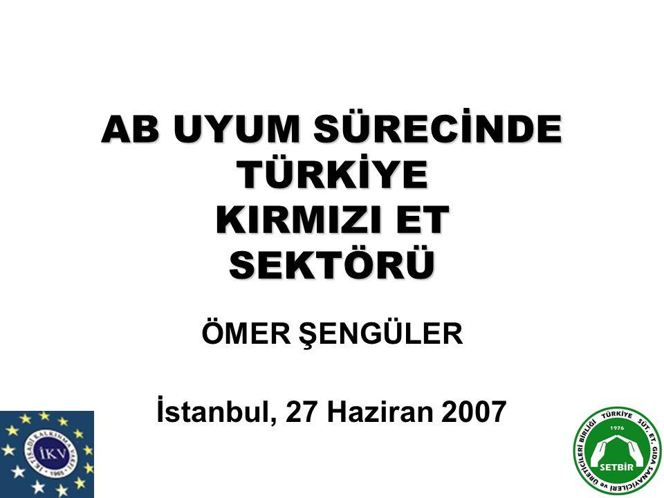 AB UYUM SÜRECİNDE TÜRKİYE KIRMIZI ET SEKTÖRÜ ÖMER ŞENGÜLER İstanbul, 27 Haziran 2007